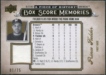 2008 Upper Deck UD A Piece of History Box Score Memories Jersey Gold #BSM33 Prince Fielder /75