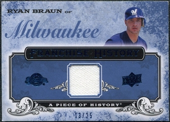 2008 UD A Piece of History Franchise History Jersey Blue #FH29 Ryan Braun /25