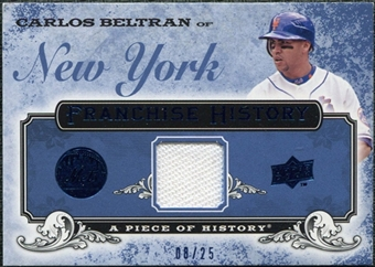 2008 UD A Piece of History Franchise History Jersey Blue #FH31 Carlos Beltran /25