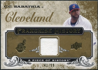2008 Upper Deck UD A Piece of History Franchise History Jersey Gold #FH15 C.C. Sabathia /99