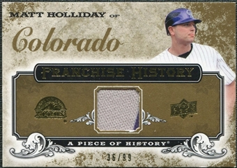 2008 Upper Deck UD A Piece of History Franchise History Jersey Gold #FH18 Matt Holliday /99