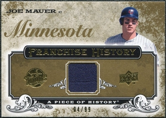 2008 Upper Deck UD A Piece of History Franchise History Jersey Gold #FH30 Joe Mauer /99
