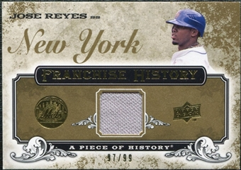2008 Upper Deck UD A Piece of History Franchise History Jersey Gold #FH34 Jose Reyes /99