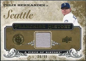 2008 Upper Deck UD A Piece of History Franchise History Jersey Gold #FH47 Felix Hernandez /99