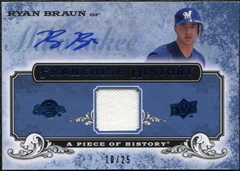 2008 Upper Deck UD A Piece of History Franchise History Jersey Autographs #FH29 Ryan Braun Autograph /25