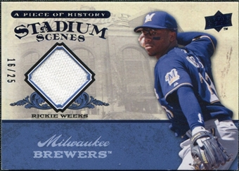 2008 UD A Piece of History Stadium Scenes Jersey Blue #SS29 Rickie Weeks /25