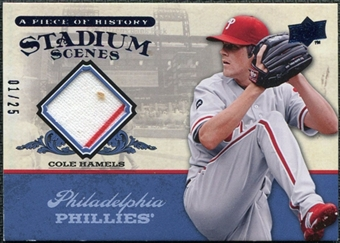 2008 UD A Piece of History Stadium Scenes Jersey Blue #SS41 Cole Hamels /25