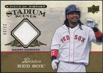 2008 Upper Deck UD A Piece of History Stadium Scenes Jersey Gold #SS9 Manny Ramirez /99