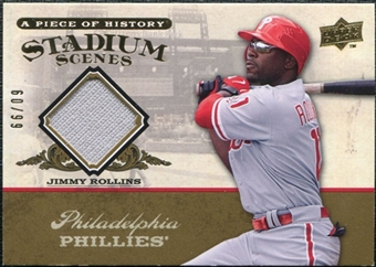 2008 Upper Deck UD A Piece of History Stadium Scenes Jersey Gold #SS44 Jimmy Rollins /99