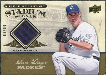 2008 Upper Deck UD A Piece of History Stadium Scenes Jersey Gold #SS46 Greg Maddux /99