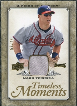 2008 Upper Deck UD A Piece of History Timeless Moments Jersey Gold #5 Mark Teixeira /75