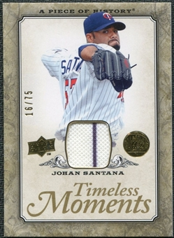 2008 Upper Deck UD A Piece of History Timeless Moments Jersey Gold #33 Johan Santana /75