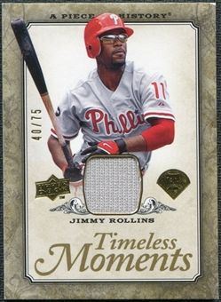 2008 Upper Deck UD A Piece of History Timeless Moments Jersey Gold #40 Jimmy Rollins /75