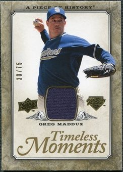 2008 Upper Deck UD A Piece of History Timeless Moments Jersey Gold #43 Greg Maddux /75