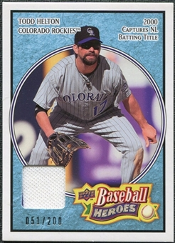 2008 Upper Deck Heroes Jersey Light Blue #59 Todd Helton /200