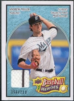 2008 Upper Deck Heroes Jersey Light Blue #71 Andrew Miller /200