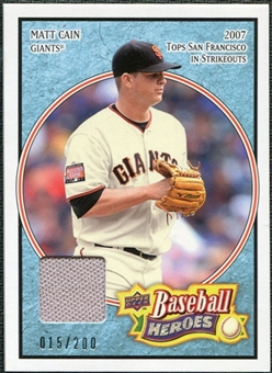 2008 Upper Deck Heroes Jersey Light Blue #80 Matt Cain /200