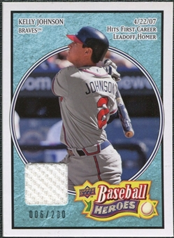 2008 Upper Deck Heroes Jersey Light Blue #95 Kelly Johnson /200