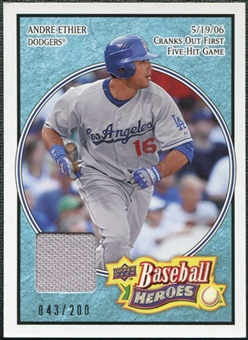 2008 Upper Deck Heroes Jersey Light Blue #131 Andre Ethier /200