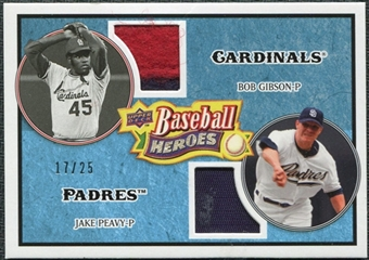 2008 Upper Deck Heroes Patch Light Blue #184 Bob Gibson Jake Peavy /25