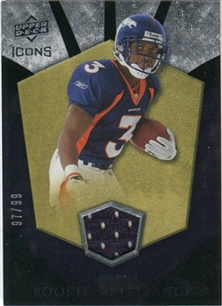 2008 Upper Deck Icons Rookie Brilliance Jersey Gold #RB31 Eddie Royal /99