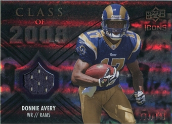 2008 Upper Deck Icons Class of 2008 Jersey Silver #CO25 Donnie Avery /199