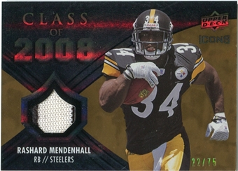 2008 Upper Deck Icons Class of 2008 Jersey Gold #CO12 Rashard Mendenhall /75