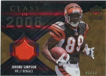 2008 Upper Deck Icons Class of 2008 Jersey Gold #CO22 Jerome Simpson /75
