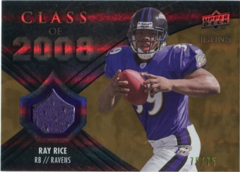 2008 Upper Deck Icons Class of 2008 Jersey Gold #CO32 Ray Rice /75