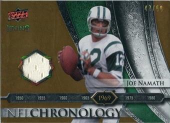 2008 Upper Deck Icons NFL Chronology Jersey Gold #CHR4 Joe Namath /50