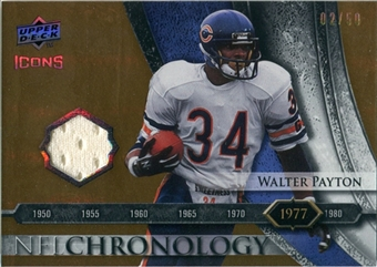 2008 Upper Deck Icons NFL Chronology Jersey Gold #CHR8 Walter Payton /50