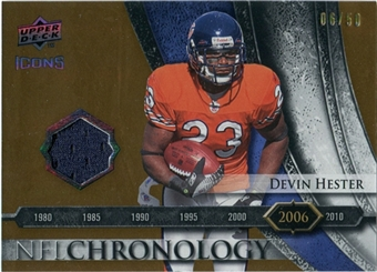 2008 Upper Deck Icons NFL Chronology Jersey Gold #CHR34 Devin Hester /50