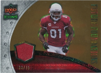 2008 Upper Deck Icons Future Foundations Jersey Gold #FF2 Anquan Boldin /75