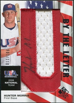 2008 Upper Deck SP Authentic USA National Team By the Letter Autographs #HM Hunter Morris /106