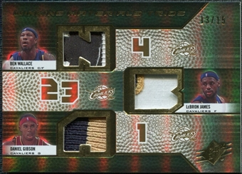 2008/09 Upper Deck SPx Winning Materials Trios Patches #WMTWJG Ben Wallace LeBron James Daniel Gibson /15