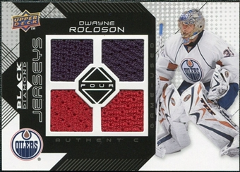 2008/09 Upper Deck Black Diamond Jerseys Quad #BDJDR Dwayne Roloson