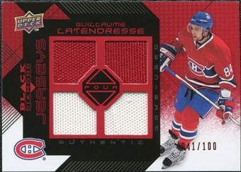 2008/09 Upper Deck Black Diamond Jerseys Quad Ruby #BDJGL Guillaume Latendresse /100