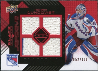2008/09 Upper Deck Black Diamond Jerseys Quad Ruby #BDJHL Henrik Lundqvist /100
