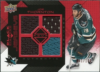 2008/09 Upper Deck Black Diamond Jerseys Quad Ruby #BDJJT Joe Thornton /100