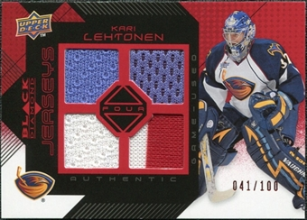 2008/09 Upper Deck Black Diamond Jerseys Quad Ruby #BDJKL Kari Lehtonen /100