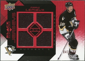 2008/09 Upper Deck Black Diamond Jerseys Quad Ruby #BDJML Mario Lemieux /100