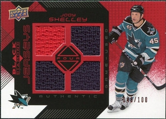 2008/09 Upper Deck Black Diamond Jerseys Quad Ruby #BDJSH Jody Shelley /100