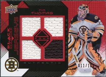 2008/09 Upper Deck Black Diamond Jerseys Quad Ruby #BDJTT Tim Thomas /100