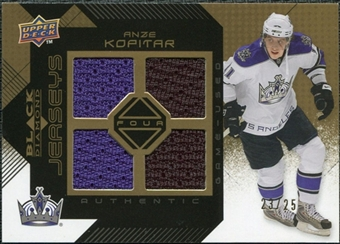 2008/09 Upper Deck Black Diamond Jerseys Quad Gold #BDJAK Anze Kopitar /25