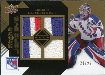 2008/09 Upper Deck Black Diamond Jerseys Quad Gold #BDJHL Henrik Lundqvist /25
