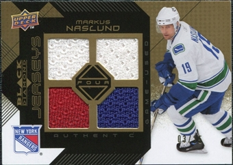 2008/09 Upper Deck Black Diamond Jerseys Quad Gold #BDJMN Markus Naslund /25