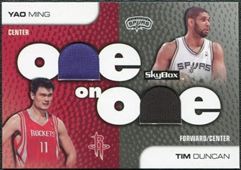 2008/09 SkyBox One on One Dual Memorabilia #OODM Tim Duncan Yao Ming