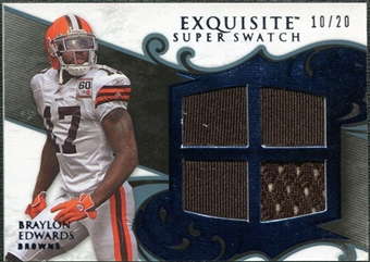 2008 Upper Deck Exquisite Collection Super Swatch Blue #SSBE Braylon Edwards /20