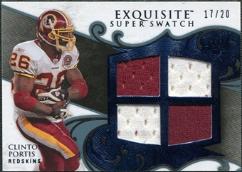 2008 Upper Deck Exquisite Collection Super Swatch Blue #SSCP Clinton Portis /20
