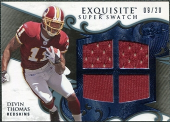 2008 Upper Deck Exquisite Collection Super Swatch Blue #SSDT Devin Thomas /20